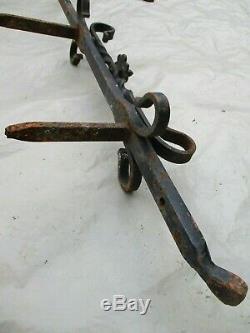 111 cm Ancienne platine verticale, pour cloche de portail, en fer forgé, XIXèm