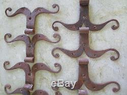 12 moustaches fer forgé ancienne ferrures porte ht environ 24 cm