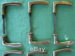12 poignées laiton massif ancienne porte communication carré de 6