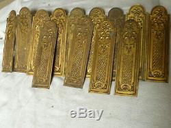 13 anciennes plaques de propretés en laiton pour porte style Louis XV chateau