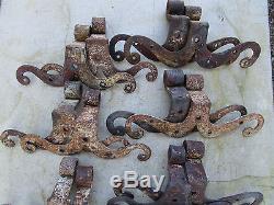 16 moustaches fer forgé ancienne ferrures placard porte hauteur 22,5 à 28,2 cm