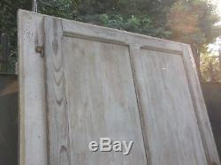 202 X 82 cm Ancienne porte d'atelier vitrée à volet de fermeture, en chêne