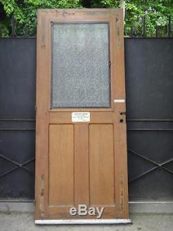 213 X 88 cm Ancienne porte d'entrée, à grille fer