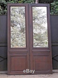 222 X 135 cm Paire d'anciennes portes miroir, en chêne XIXème