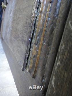 255 X 90 cm Ancienne porte d'entrée à oeil de boeuf en chêne