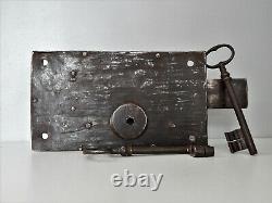 2,3kg Ancienne Grosse Serrure Fer Forgé XIX, Porte, 2 Clé, Antique Lock Door, Castle