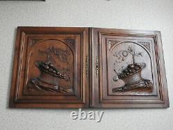 2 Ancien Panneau Porte De Meuble Bois Sculpte Wood Furniture Door Henri II