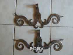 2 Anciennes Charnieres Ferrures De Porte Moustaches, Cur Fer Forgé Art Populaire