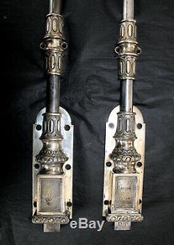 2 Anciennes targettes, verrous bas, crémones en bronze argenté FT (Fontaine)