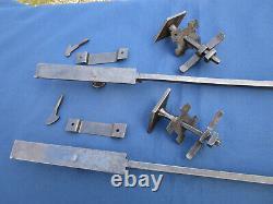 2 Clenches rosaces poignées losange fer forgé mentonnet barres 50 & 51 cm ancien