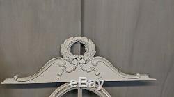 2 FRONTONS anciens Louis XVI ruban croisé en bois patiné gris boiserie paire