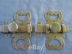 2 Grosses targettes verrou ouvragée fer forgé ancienne porte 19,2 x 9 cm
