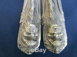 2 Poignées ancienne laiton massif argenté décoré tête porte carré de 7