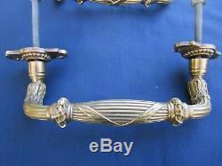 2 Poignées longues 21,5 cm fixes déportées ancienne laiton porte double d'entrée