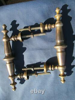 2 Poignées longues 25 cm fixes ancienne Métal porte double d'entrée