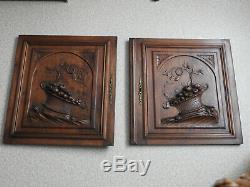 2 Portes Anciennes De Meuble Bois Sculpte Wood Furniture Door Henri II Serrure