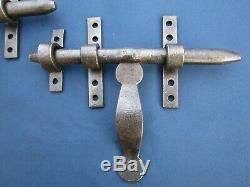 2 Verrous cochonnier ancien fer forgé largeur 20,5 cm poignée hauteur 13 cm