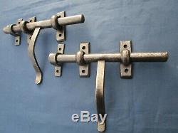 2 Verrous cochonnier ancien fer largeur 23 cm poignée hauteur 15 cm