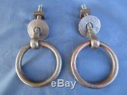 2 anneaux rosaces Métal fer ancien diamètre 11,6 cm porte