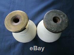 2 boules pilastre rampe escalier fonte émaillée écru ancienne diamètre 9 cm
