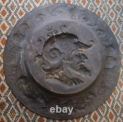 2 bustes condotierre, généraux antiques Hannibal médaillons 63 cm