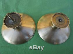 2 grandes poignées rondes laiton massif porte verre magasin ancien dia. 14,8 cm