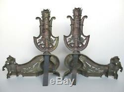 2 grands chenets anciens en laiton style baroque XVIIème-XVIIIème siècle