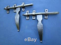 2 gros Verrous cochonnier ancien fer forgé largeur 25 cm poignée hauteur 20 cm
