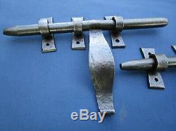 2 gros Verrous cochonnier ancien fer forgé largeur 28 cm poignée hauteur 15 cm