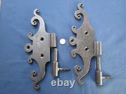 2 grosses moustaches métal gonds ancien ferrures charnières porte trappe 33 cm