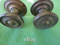 2 grosses poignées rosaces rondes laiton porte d'entrée ancienne diamètre 9 cm