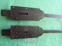 2 grosses targettes longues 86 cm fonte fer laiton porte double placard ancienne