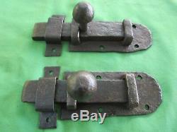 2 grosses targettes verrou fer forgé ancienne porte largeur 16 x 7 cm hauteur