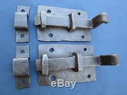 2 grosses targettes verrou fer forgé ancienne porte plaque 12,7 X 8 cm