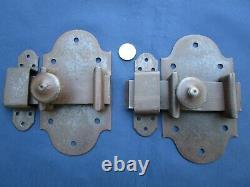 2 grosses targettes verrous fer ancienne porte hauteur 17 x 9,5 cm largeur