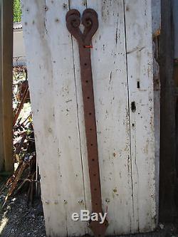 2 longues pentures fer forgé ouvragée ancienne porte portail largeur 1,45 m