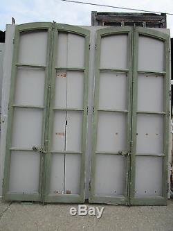 2 paires fenêtre (4 vantaux) cintrées ancienne portes bibliothèque 1 m x 2,30 m
