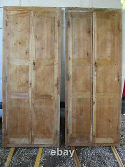 2 paires portes placards cadrées bois sapin ancienne 100 x 240 cm