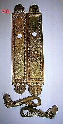 2 poignées de porte col de cygne 2 plaques de propreté bronze style empire