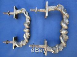 2 poignées fixes anciennes bronze massif décor serpent tronc porte d'entrée 16,5