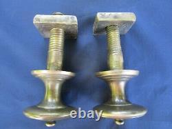 2 poignées fixes laiton massif Empire portes d'entrée ancienne D. 6,2 cm