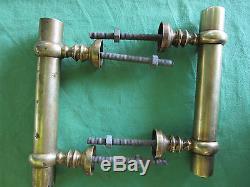 2 poignées fixes longues 18,2 cm bâton de berger laiton ancienne porte d'entrée