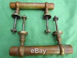 2 poignées longueur 20,2 cm bâton de berger laiton ancienne porte d'entrée