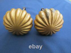 2 poignées rondes laiton massif décor tranches porte entrée ancien Dia. 8,4 cm