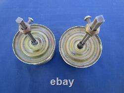 2 poignées rondes rosaces ancienne laiton porte double d'entrée carré 6 D. 8 cm