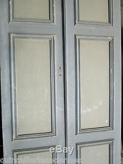 2 portes placard ou communication ancien moulure Sapin décoration 230 x 123 cm