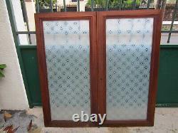 2 portes vitrées de meuble ancien décor Mousseline N°18 par émaillage à chaud