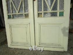 2 portes vitrées peint barreaux très décoratif ancienne haut 2,30 m large 136 cm