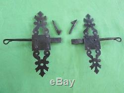 2 targettes fer forgé ouvragée porte volet en applique ancien Ht 20 cm Tire D G