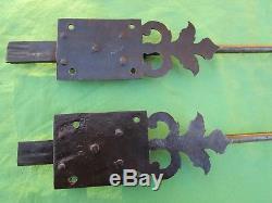 2 targettes ouvragées fer forgé longues 45 & 65 cm portes double placard ancien
